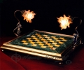 Marble-Onyx bronze base & angels Chess Board_1