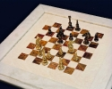 White Marble Brown Onyx chess board