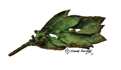 Bay leaf-Bronze green patina.