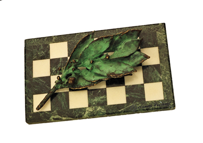 Green Marble -Bay leaf-Bronze green patina.